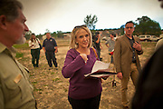 "04 JUNE 2011 - EAGAR, AZ: Gov Jan Brewer talks to members of the fire command team at  Round Valley Primary School, talks about the Wallow Fire Saturday. Smoke from the fire, more than 20 miles from Eagar, turned the sky bright orange. The fire grew to more than 140,000 acres early Saturday with zero containment. A ""Type I"" incident command team has taken command of the fire.  PHOTO BY JACK KURTZ"
