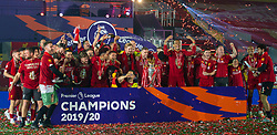 LIVERPOOL, ENGLAND - Wednesday, July 22, 2020: Liverpool's captain Jordan Henderson with the Premier League trophy as his side are crowned Champions after the FA Premier League match between Liverpool FC and Chelsea FC at Anfield. The game was played behind closed doors due to the UK government's social distancing laws during the Coronavirus COVID-19 Pandemic. Liverpool won 5-3. (Pic by David Rawcliffe/Propaganda)
