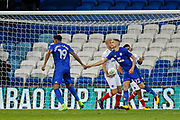 Nathaniel Mendez-Laing of Cardiff City celebrates scoring his teams first goal, 1-1 during the EFL Cup match between Cardiff City and Portsmouth at the Cardiff City Stadium, Cardiff, Wales on 8 August 2017. Photo by Andrew Lewis.