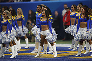 Los Angeles Rams cheerleaders in action during the NFL Super Bowl 53 football game against the New England Patriots on Sunday, Feb. 3, 2019, in Atlanta. The Patriots defeated the Rams 13-3. (©Paul Anthony Spinelli)