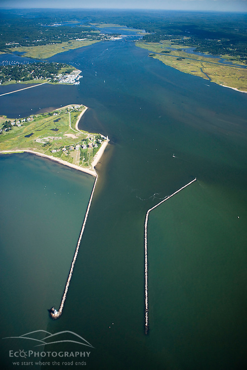 The mouth of the Connecticut River in Old Saybrook, Connecticut.  Long Island Sound.  Aerial.  Breakwater.