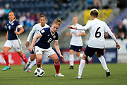 Kim Little (#8) of Scotland takes on Anastasiya Novikova (#6) of Belarus during the FIFA Women's World Cup UEFA Qualifier match between Scotland Women and Belarus Women at Falkirk Stadium, Falkirk, Scotland on 7 June 2018. Picture by Craig Doyle.