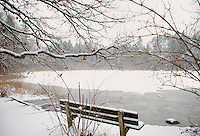 Scenic view of a snowy winter bench by a frozen lake.