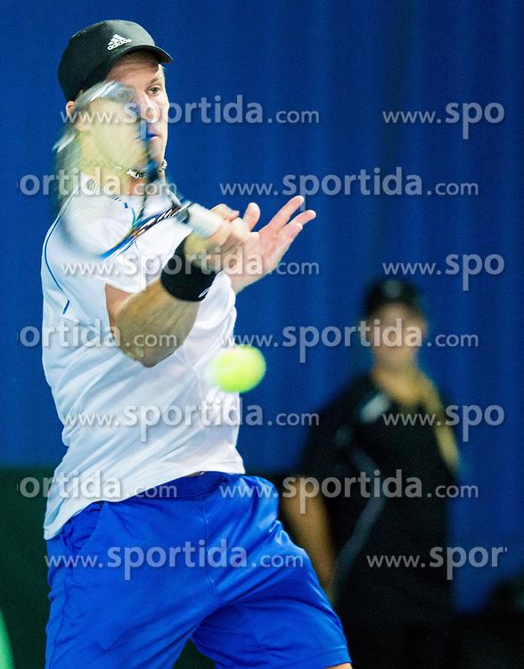 Grega Zemlja of Slovenia during Davis Cup Slovenia vs Lithuania competition, on October 30, 2015 in Kranj, Slovenia. Photo by Vid Ponikvar / Sportida