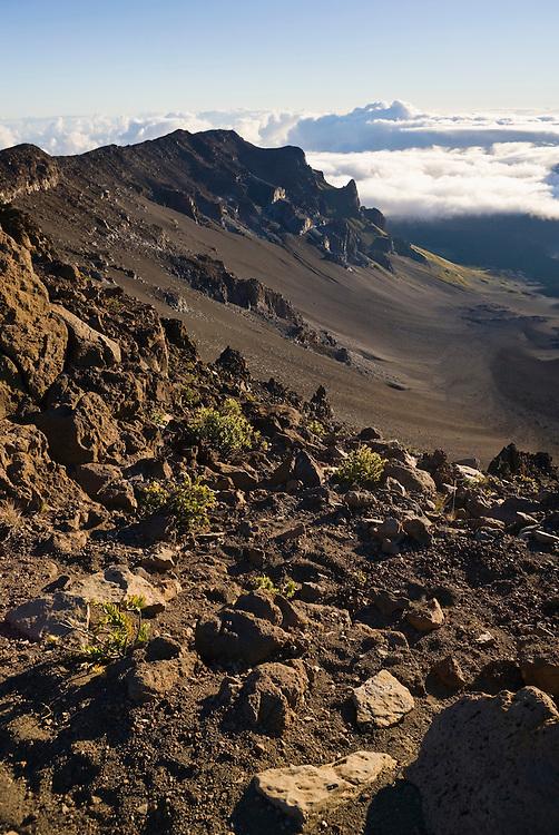 A view of a sweeping hillside atop Haleakala Volcano on  East Maui, Hawai'i, USA