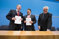 """15 MAY 2012, BERLIN/GERMANY:<br /> Peer Steinbrueck (L), SPD, Bundesminister a.D., Sigmar Gabriel (M), SPD Parteivorsitzender, Frank-Walter Steinmeier (R), SPD Fraktionsvorsitzender, mit Ihrem gemeinsamen Papier, nach der Pressekonferenz zum Thema """" Der Weg aus der Krise – Wachstum und Beschäftigung in Europa"""", Bundespressekonferenz<br /> IMAGE: 20120515-01-050<br /> KEYWORDS: Peer Steinbrück"""