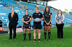 (Left to Right ) Representatives from G X Accounts with Patricia Garcia, Amy Garnett, Garnet MacKinder attend a Sponsors evening to announce their shirt sponsorship for Exeter Chiefs Women - Mandatory by-line: Ryan Hiscott/JMP - 17/09/2020 - RUGBY - Sandy Park - Exeter, England - Exeter Chiefs Women - Shirt Sponsors Evening