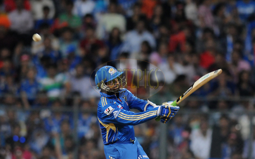 Harbhajan Singh captian of Mumbai Indians bats during match 54 of the Indian Premier League ( IPL) 2012  between The Mumbai Indians and the Royal Challengers Banglore held at the Wankhede Stadium in Mumbai on the 9th May 2012..Photo by Pal Pillai/IPL/SPORTZPICS..