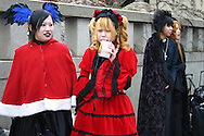 "A wide variety of ""costume play"" getups  from Japanese manga, anime,  imitations of favorite pop stars or combinations in between can be witnessed very Sunday in Harajuku, Tokyo's fashion quarter. Casual observers believe that cosplay is a reaction to  rigid rules of Japanese society but since so many cosplayers congregate in Harajuku and Aoyama - Tokyo headquarters of Fendi, Hanae Mori and Issey Miyake, others consider it is a reaction to high fashion. Whatever the reason cosplay aficionados put a tremendous amount of effort into their costumes every Sunday. You can't help but wonder what they wear on Monday morning.."