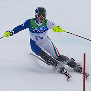 Winter Olympics, Vancouver, 2010.Giuliano Razzoli, Italy, in action during the Alpine Skiing, Men's Slalom at Whistler Creekside, Whistler, during the Vancouver Winter Olympics. 27th February 2010. Photo Tim Clayton
