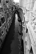 Italy. Venice elevated view. the rio of the two towers  Venice - Italy  view from the palace CA PESARO  on the Grand Canal. / le rio des deux tours  Venise - Italie vue depuis le palais musee CA PESARO, le long du grand canal