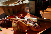 Burgundy, France..for story by Eric Asimov concerning a number of young, excellent winemakers - .Coquelet (young chicken) with spices, by.Fabienne Escoffier, the chef of Ma Cuisine, which she owns in Beaune with her husband Pierre, who is the host and wine  . steward...Photo by Owen Franken for the NY Times..May 28, 2008