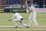Nathan Rimmington pushes one past Hassan Azad at short leg during the Specsavers County Champ Div 2 match between Leicestershire County Cricket Club and Durham County Cricket Club at the Fischer County Ground, Grace Road, Leicester, United Kingdom on 9 July 2019.