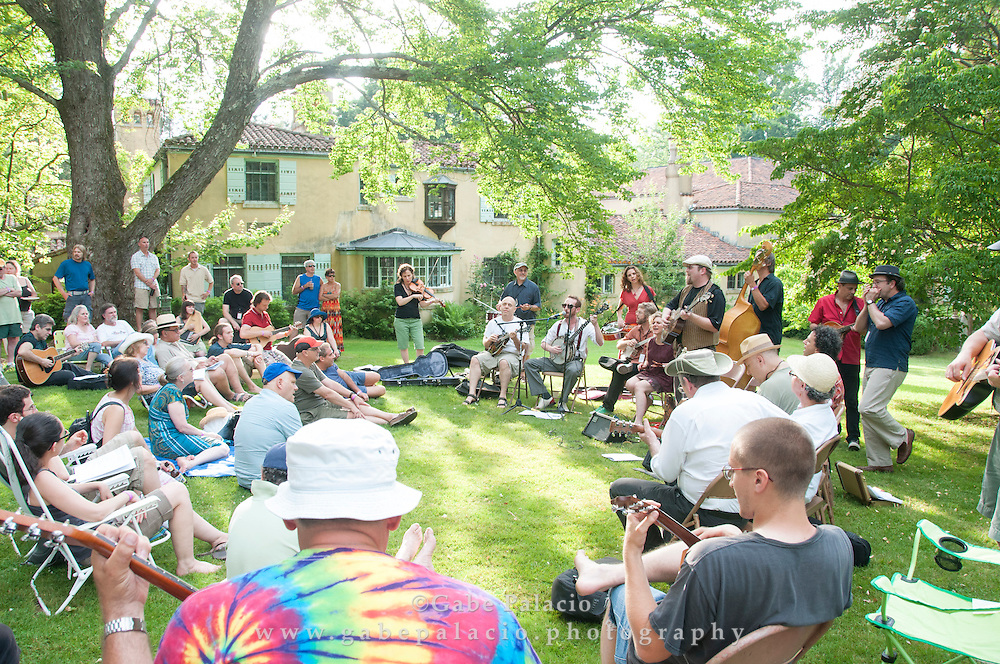 The Social Music Hour on the East Lawn of the Rosen House at the American Roots Music Festival at Caramoor in Katonah New York.photo by Gabe Palacio