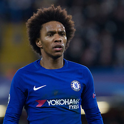 Willian of Chelsea during the Champions League match between Chelsea and Brcelona at Stamford Bridge, London on Tuesday 20th February 2018.  (C) Steven Morris | SportPix.org.uk