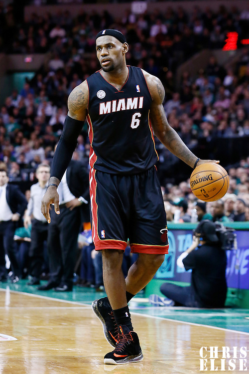 27 January 2013: Miami Heat small forward LeBron James (6) brings the ball upcourt during the Boston Celtics 100-98  2OT victory over the Miami Heat at the TD Garden, Boston, Massachusetts, USA.