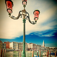 Street light overlooking the Grand Canal, opposite San Marco sestiere, Dorsoduro, Venice, Italy