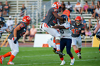 KELOWNA, BC - AUGUST 3:  Jack Proskow #52 and Jordan Robinson #51 of the Okanagan Sun block the Kamloops Broncos during the first quarter at the Apple Bowl on August 3, 2019 in Kelowna, Canada. (Photo by Marissa Baecker/Shoot the Breeze)