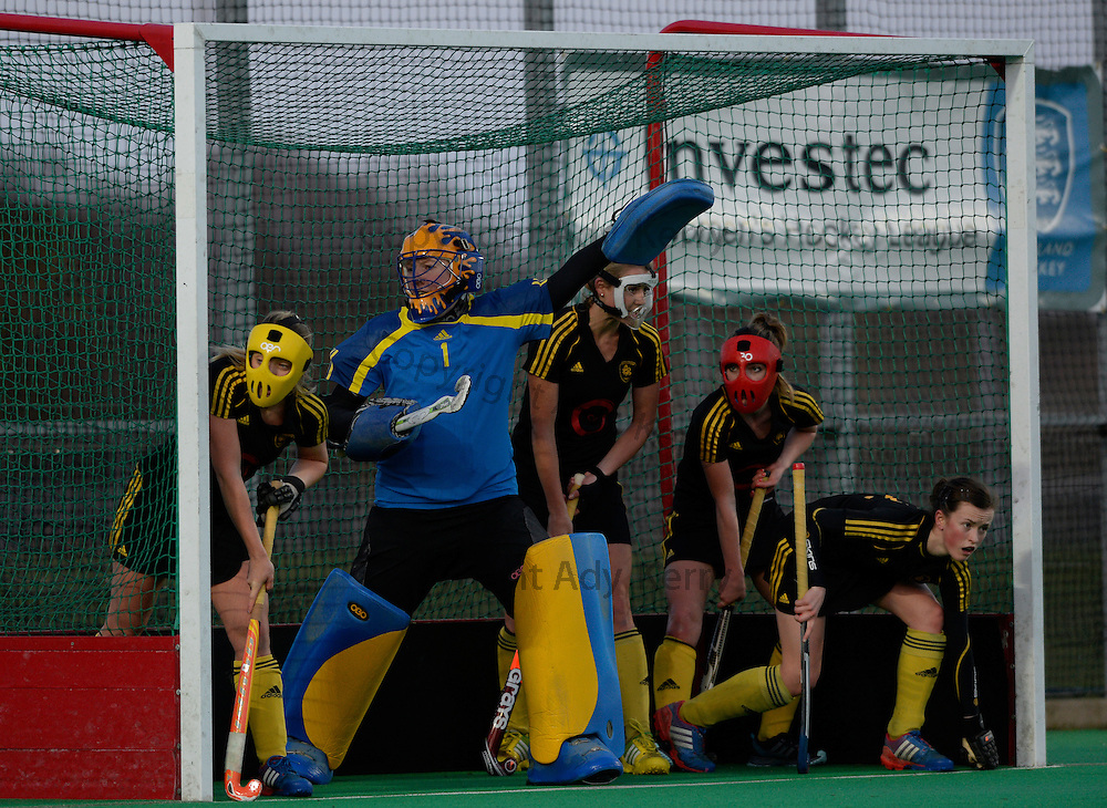Beeston defend a penalty corner against Canterbury during their Investec Women's Hockey League Premier Division game at Canterbury HC, 22nd February 2014.
