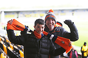 Luton fans arrive at the Pirelli Stadium during the EFL Sky Bet League 1 match between Burton Albion and Luton Town at the Pirelli Stadium, Burton upon Trent, England on 27 April 2019.