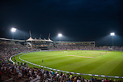 The Ageas Bowl Pavilion under the floodlights during the Royal London ODI match between England and Pakistan at the Ageas Bowl, Southampton, United Kingdom on 24 August 2016. Photo by David Vokes.