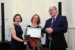 Lincolnshire Co-op long service awards 2018. Lincolnshire Co-op long service awards 2018. Lincolnshire Co-operative chief executive Ursula Lidbetter, left, and president Steve Hughes, right, present 25-year long service award to Tracey Bancroft (Dispensing Technician at Tower Lincoln Pharmacy)<br /> <br /> Picture: Chris Vaughan Photography for Lincolnshire Co-op<br /> Date: September 20, 2018