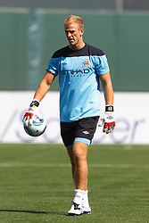 July 16, 2011; San Francisco, CA, USA;  Manchester City goalkeeper Joe Hart (25) warms up before the game against Club America at AT&T Park. Manchester City defeated Club America 2-0.
