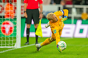 Kasper Schmeichel (#1) of Leicester City saves the crucial penalty during the penalty shoot-out of the EFL Cup match between Newcastle United and Leicester City at St. James's Park, Newcastle, England on 28 August 2019.