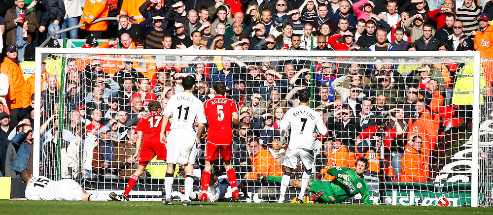 Liverpool, England - Saturday, March 3, 2007:  Liverpool's Craig Bellamy scores against Manchester United but it is disallowed during the Premiership match at Anfield. (Pic by David Rawcliffe/Propaganda)