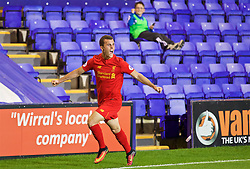 BIRKENHEAD, ENGLAND - Wednesday, September 28, 2016: Liverpool's substitute Brooks Lennon celebrates scoring the first equalising goal against Wolfsburg during the Premier League International Cup match at Prenton Park. (Pic by David Rawcliffe/Propaganda)