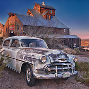 1950s Abandoned Chevrolets At Sunset - Eldorado Canyon Techatticup Mine - Nelson NV - HDR