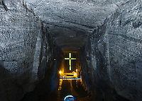 View of Main Cathedral and part of la creacion de hombre, salt Cathedral of Zipaquira, Colombia, South America