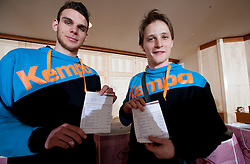 Borut Mackovsek and Jure Dolenec of Slovenian Handball Men National Team when they get new clothes of Sportina Group for the EHF European Championship EURO 2012 in Serbia, on January 11, 2011, in Zrece, Slovenia. (Photo by Vid Ponikvar / Sportida)