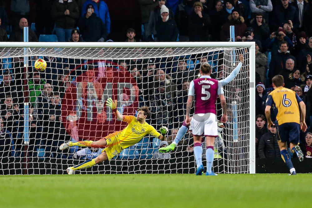 Fabian Giefer of Bristol City dives the wrong way as Jonathan Kodjia of Aston Villa hits a penalty over the crossbar - Rogan Thomson/JMP - 28/02/2017 - FOOTBALL - Villa Park - Birmingham, England - Aston Villa v Bristol City - Sky Bet EFL Championship.