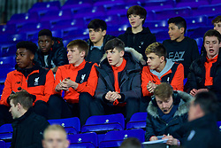 BIRKENHEAD, ENGLAND - Monday, March 13, 2017: Liverpool's Under-18 players look surprised as manager Jürgen Klopp turns up to sit with them before the Under-23 FA Premier League 2 Division 1 match against Chelsea at Prenton Park. (Pic by David Rawcliffe/Propaganda)