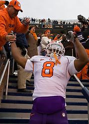 Clemson running back Jamie Harper (8) celebrates with Clemson fans after the game.  The Clemson Tigers defeated Virginia Cavaliers 13-3 in NCAA Division 1 football at Scott Stadium on the Grounds of the University of Virginia in Charlottesville, VA on November 22, 2008.