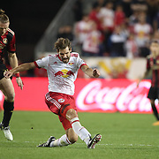 HARRISON, NEW JERSEY- OCTOBER 15: Damien Perrinelle #55 of New York Red Bulls challenged by Jacob Peterson #29 of Atlanta United during the New York Red Bulls Vs Atlanta United FC, MLS regular season match at Red Bull Arena, Harrison, New Jersey on October 15, 2017 in Harrison, New Jersey. (Photo by Tim Clayton/Corbis via Getty Images)