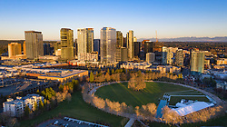 United States, Washington, Bellevue, aerial view of Downtown Park and skyline