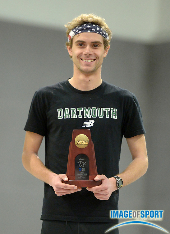 Mar 15, 2014; Albuquerque, NM, USA; Will Geoghan of Dartmouth poses with All-American plaque after placing fifth in the mile in 4:04.17 in the 2014 NCAA Indoor Championships at Albuquerque Convention Center.
