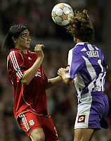 Photo: Paul Thomas.<br />Liverpool v Toulouse. UEFA Champions League Qualifying. 28/08/2007.<br /><br />Sebastian Leto of Liverpool in action against Pantxi Sirieix (R).