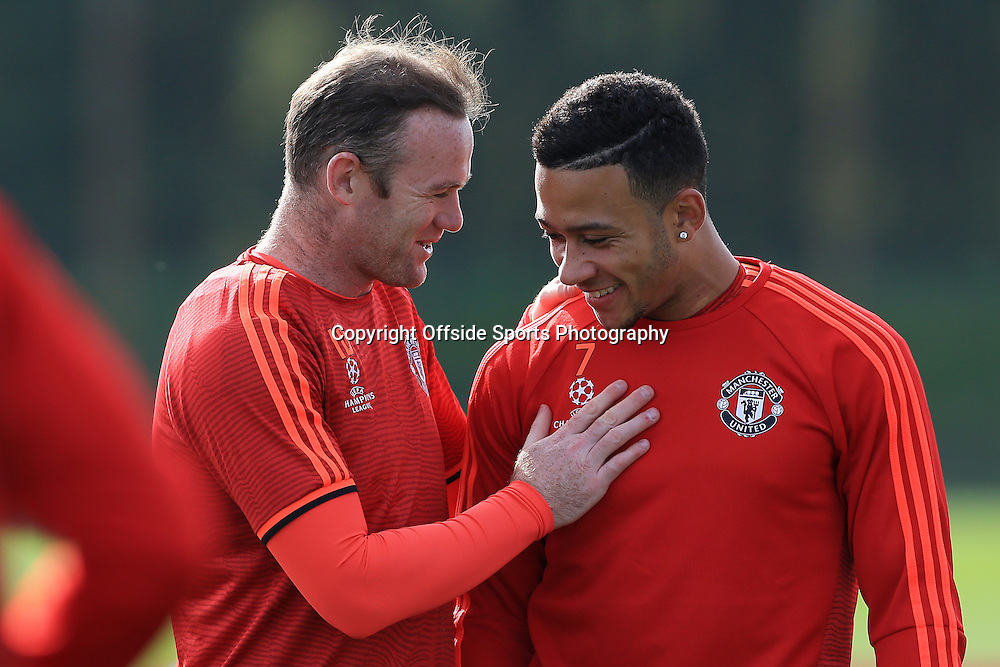 29th September 2015 - UEFA Champions League - Group B - Manchester United Press Conference - Wayne Rooney (L) and Memphis Depay - Photo: Simon Stacpoole / Offside.