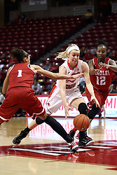 30 January 2015:  Katy Winge makes a cut between Michelle Young and Fantasia Vine to try and grb a loose ball during an NCAA women's basketball game between the Bradley Braves and the Illinois Sate Redbirds at Redbird Arena in Normal IL