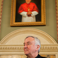 LONDON, ENGLAND - NOVEMBER 09: (L-R) Deacon Jack Sullivan and the Archibishop of Wesminster Vincent Nichols at a News Confrence at Archibishop's House on November 9, 2009 in London, England. Jack Sullivan is a US Roman Catholic deacon, claims to have been cured from a crippling spinal disease after praying to Cardinal John Henry Newman was recognised as a miracle by the Vatican....***Agreed Fee's Apply To All Image Use***.Marco Secchi /Xianpix. tel +44 (0) 771 7298571. e-mail ms@msecchi.com .www.marcosecchi.com