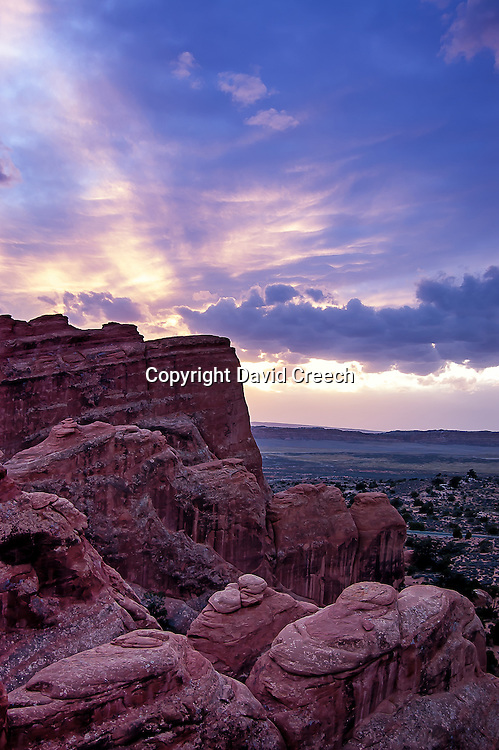 Sunset view over Devil's Garden in Arches National Park, Utah on a Fall evening.