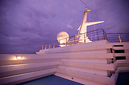 The communications tower of a cruise ship in the Atlantic Ocean off the coast of Brazil.