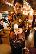 Champagne in the bar car on the Eastern & Oriental Train