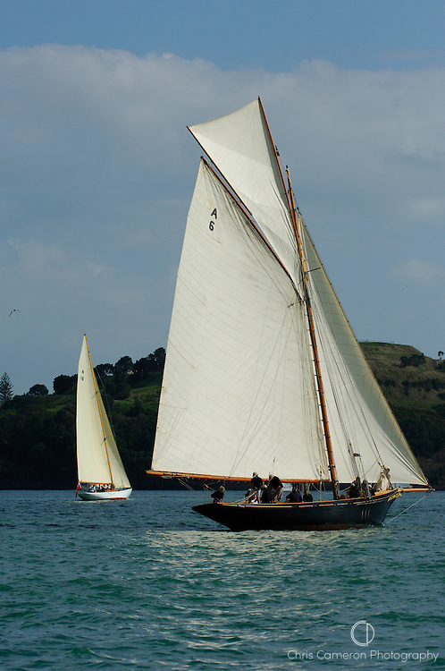 Tawera (A18) and Waitangi (A6) start the around Rangitoto race of the Lindauer Classic Yacht Regatta. 18/2/2006