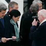 Presidential Inauguration 2005- GEORGE W. BUSH.Washington, DC.01/20/2005.West Front - US Capitol.Senator John Kerry and Senator Patrick Leahy. Senator Olympia Snow (C)..Photo by Khue Bui..