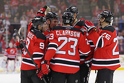 Jan 17; Newark, NJ, USA; The New Jersey Devils celebrate New Jersey Devils left wing Ilya Kovalchuk (17) goal during the second period at the Prudential Center.
