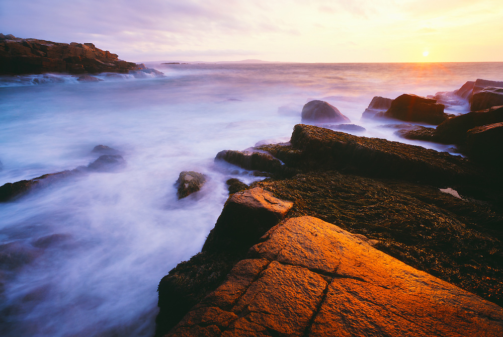 0901-1020 ~ Copyright: George H.H. Huey ~ Sunrise,  Schoodic Point, Frenchman's Bay, Atlantic Ocean.  Acadia National Park, Maine.